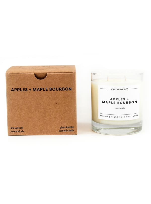 Apples/Maple Bourbon 8.25 oz. Clear Glass Tumbler Soy Wax Candle - White - Front