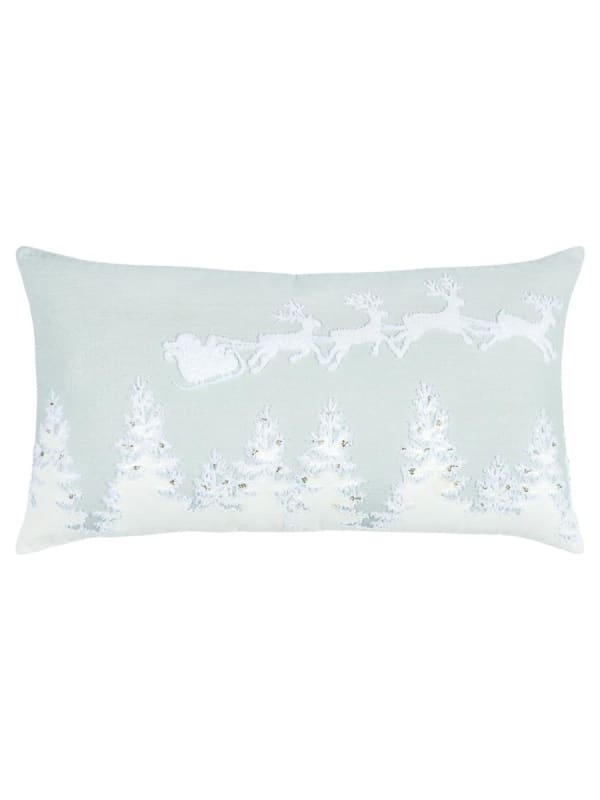 "Holiday Flight of Santa 14""x26"" Gray Cotton Pillow Cover - Gray - Front"