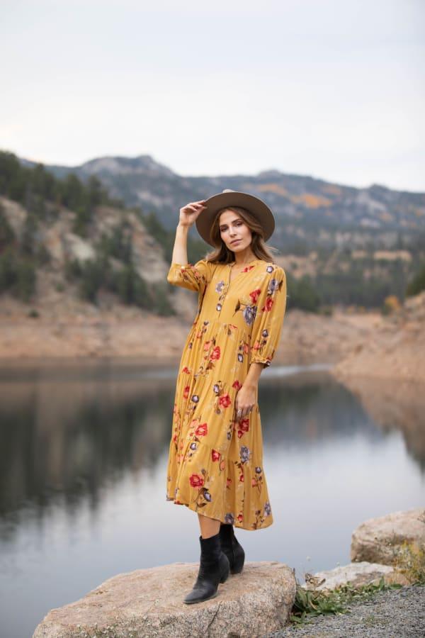Silvia Midi Floral Dress - Misses - mustard - Front