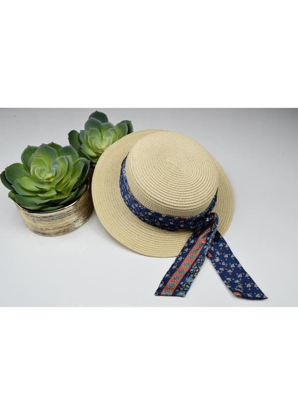 Boater Hat - Blue Print - Front