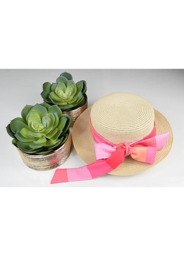 Boater Hat - Pink Print - Front
