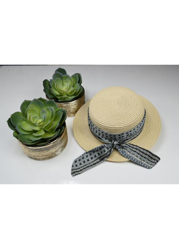 Boater Hat - Grey Print - Front