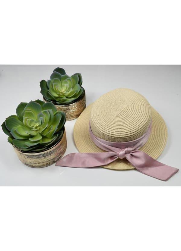 Boater Hat - Rose - Front