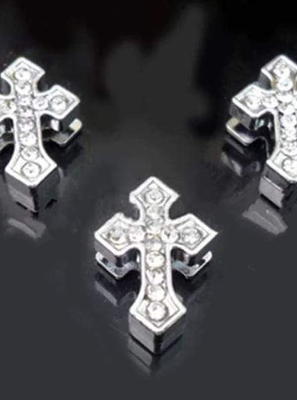 Pave Arrowed Cross Charm -Silver