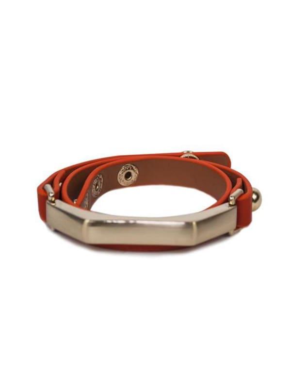 Gold Plated Sash Leather Bracelet