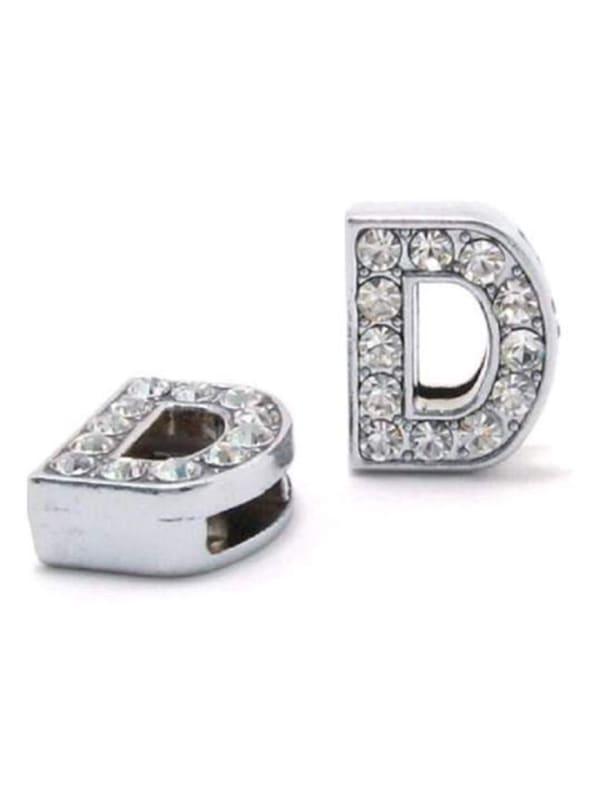 """Pave Letter """"D"""" - Silver Charm"""