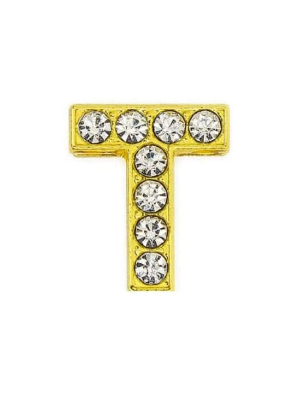Pave Letter T - Gold Charm
