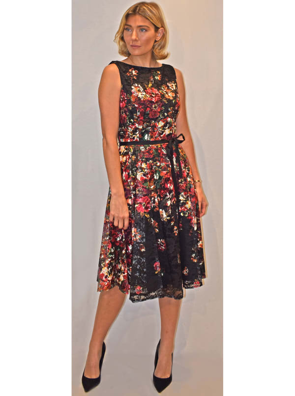 Floral Lace Fit and Flare Midi Dress - Black/Raspberry - Front