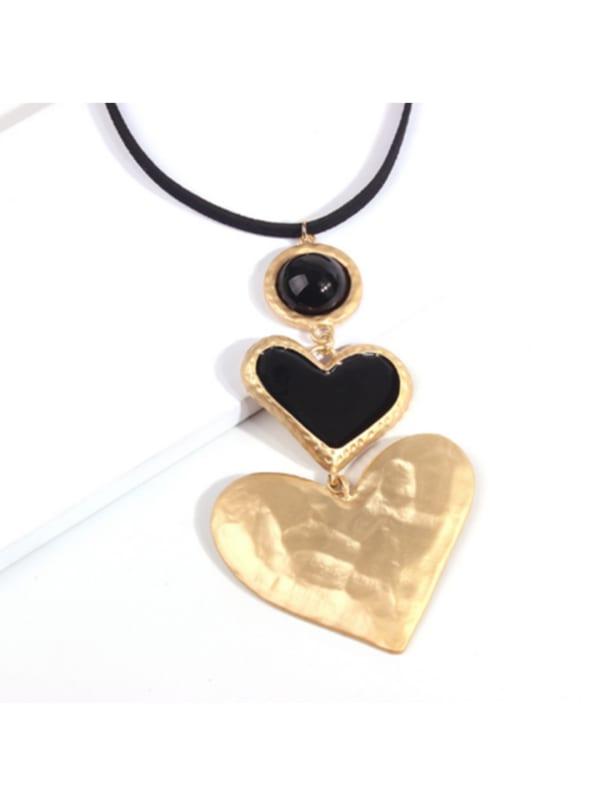 Double Black Heart Necklace