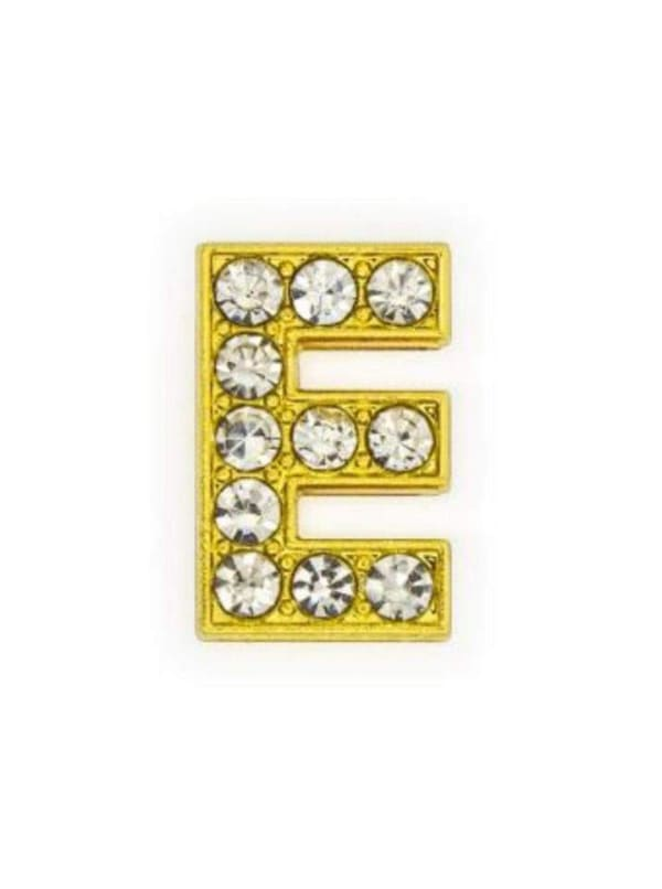 "Pave Letter ""E"" - Gold Charm"