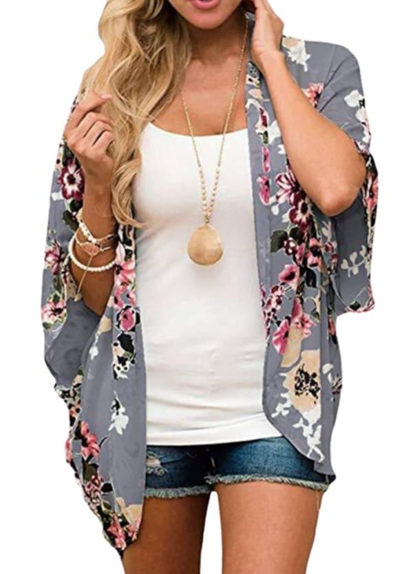 Summer Kimono - Plus - Grey - Front