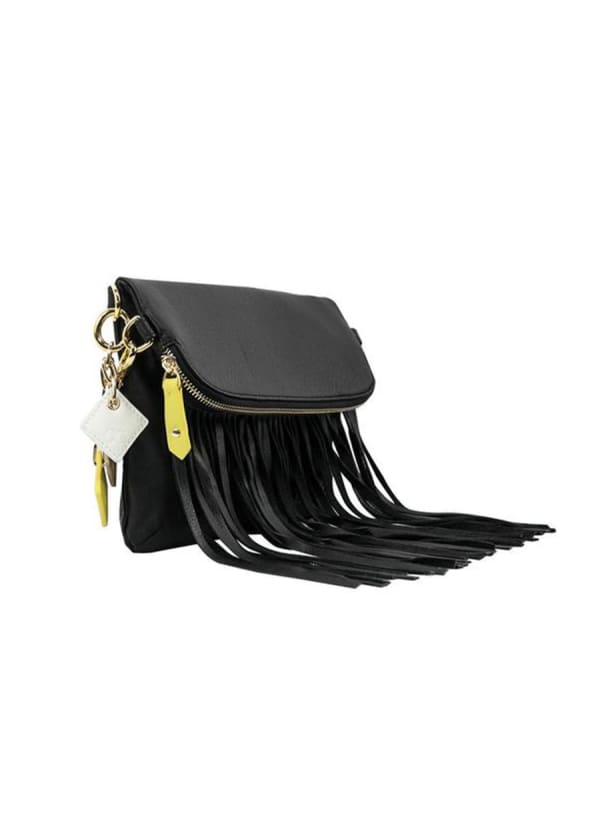 Flamingo Leather Fringe Bag - Midnight Black - Front
