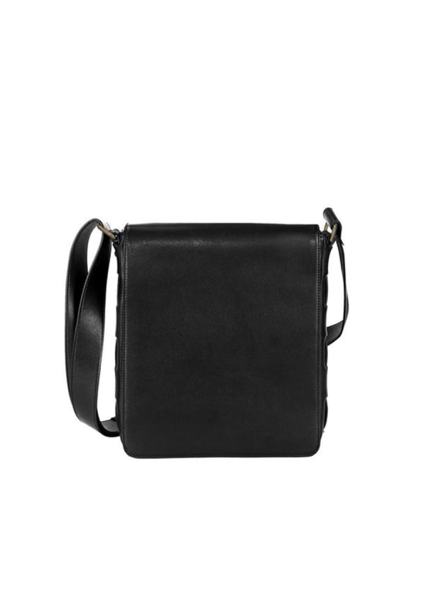 Andrew Leather Messenger Bag - Black - Front