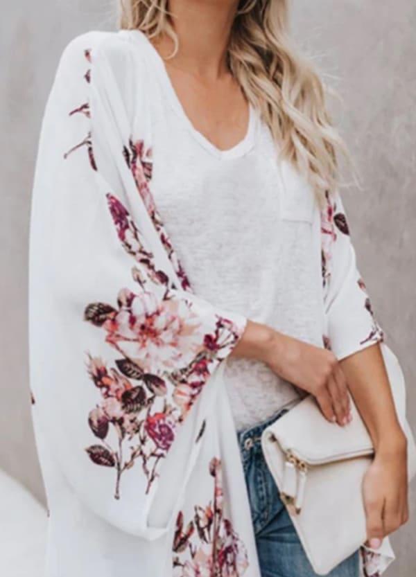 Berry Print Kimono - Plus