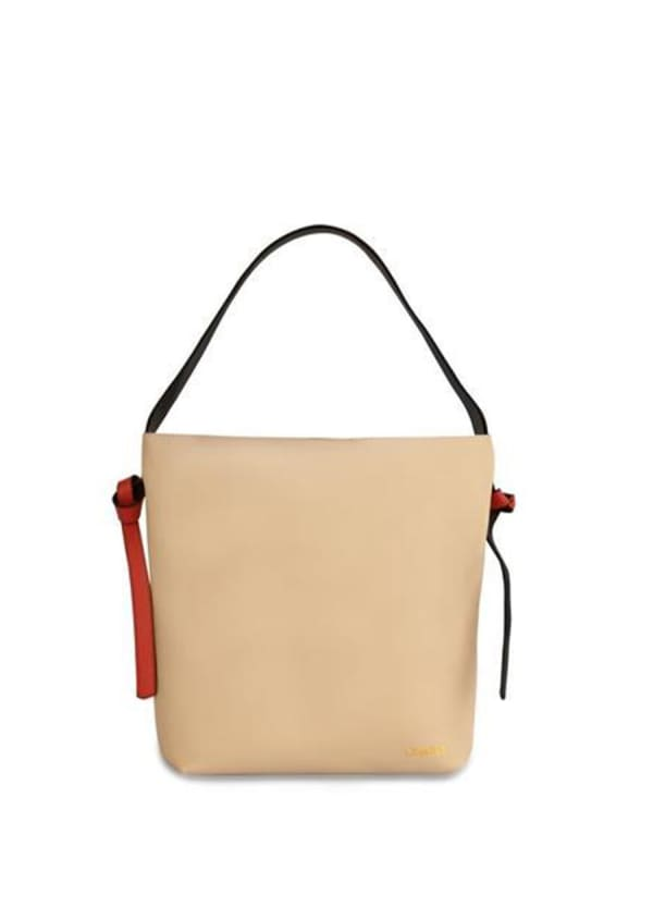 Versa Leather Tote - Grey / Red - Front