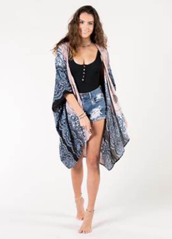 Koh Samui Mandala Kimono Cover Up - Pink Gray / Cream Black - Front