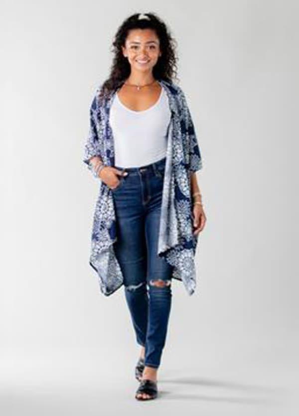 Barbados Mandala Kimono Cover Up - Navy / White - Front