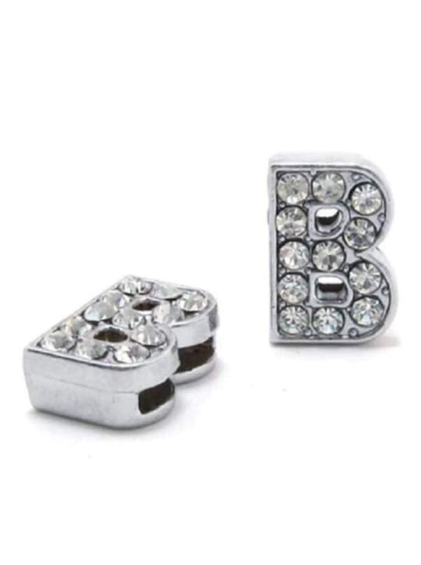 """Pave Letter """"B"""" - Silver Charm"""