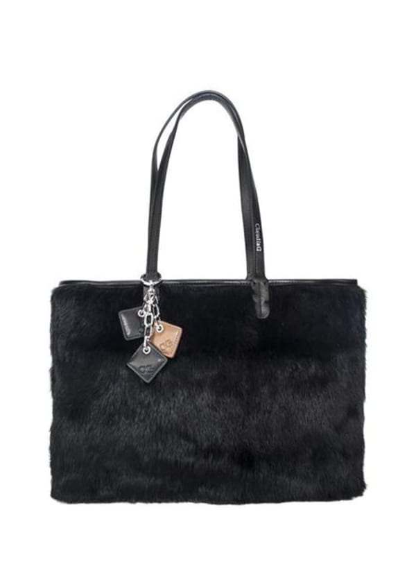 Olivia Fur and Leather Handbag - Black - Front