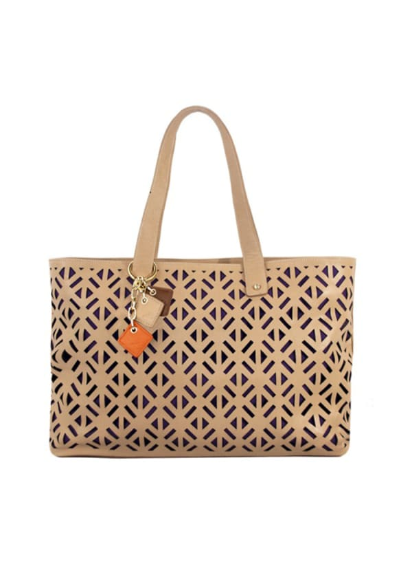 Luminous Leather Tote - Tan - Front