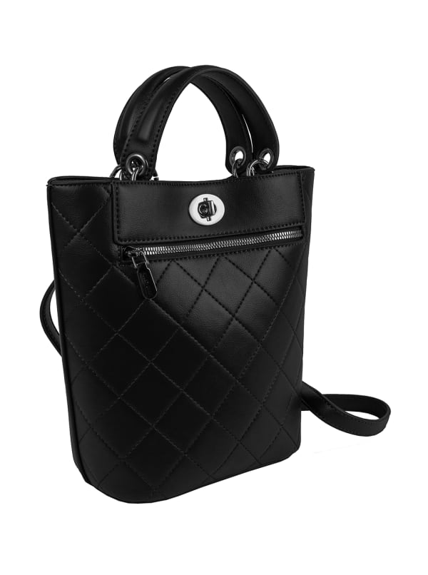 Ellen Tracy Smooth PU Quilted Top Handle Shopper W. Crossbody - Black - Front