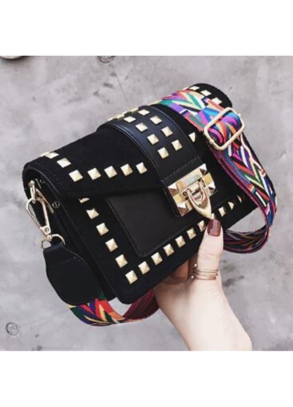 Betty Shoulder Bag - Velvet Finish - Black - Front