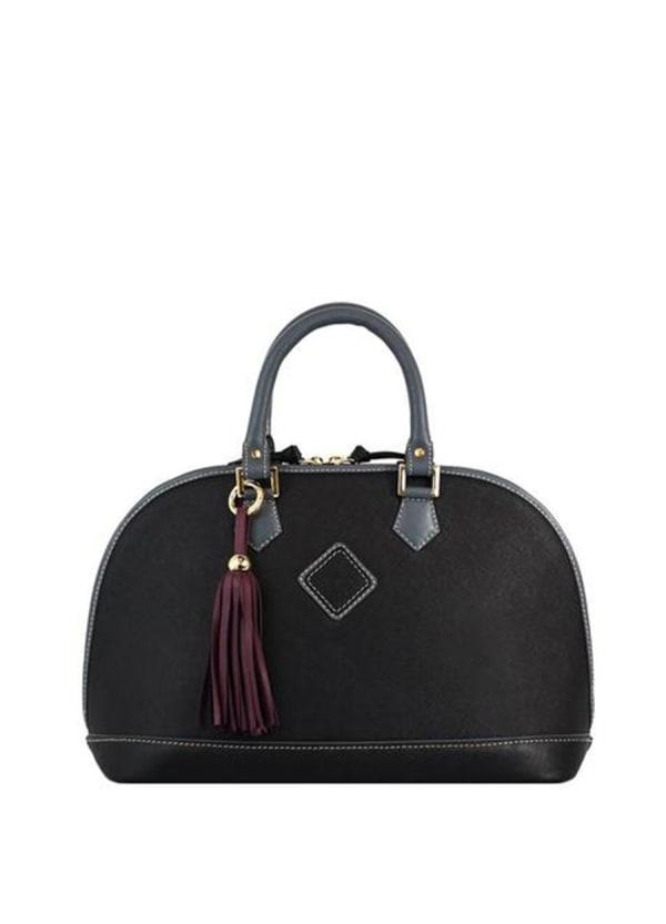 Antonia Leather Handbag - Black - Front