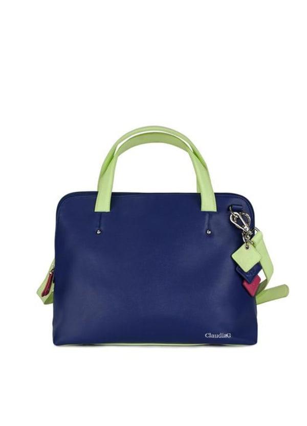 Elisa Leather Handbag - Sapphire - Front