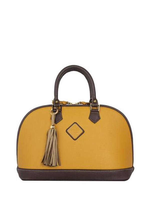 Antonia Leather Handbag - Goldenrod / Chocolate - Front