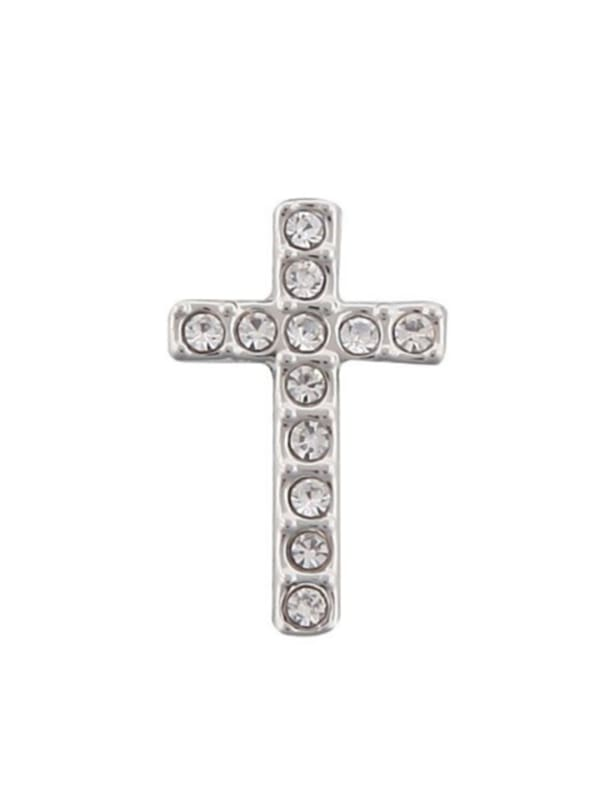 Pave Cross Charm -Silver