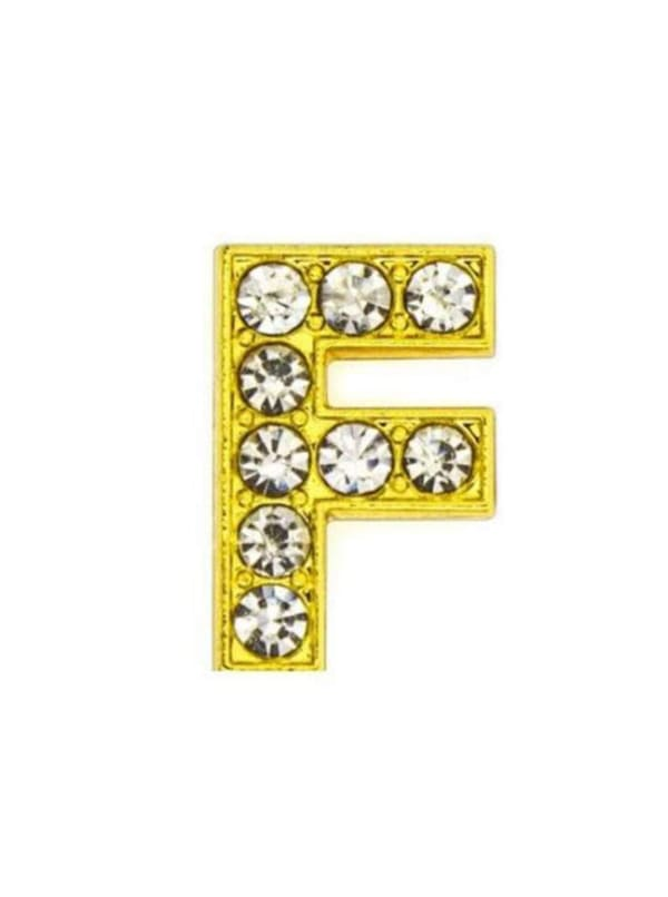 """Pave Letter """"F"""" - Gold Charm"""