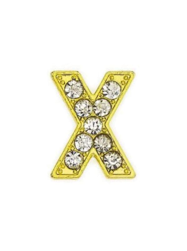 """Pave Letter """"X"""" - Gold Charm"""