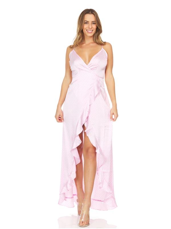 Cold Shoulder Printed Dress With Pompom
