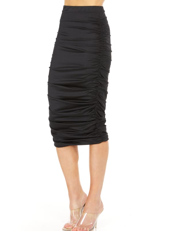 Fitted Midi Skirt - Black - Front