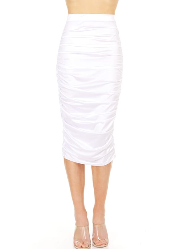 Fitted Midi Skirt -Ivory - Front