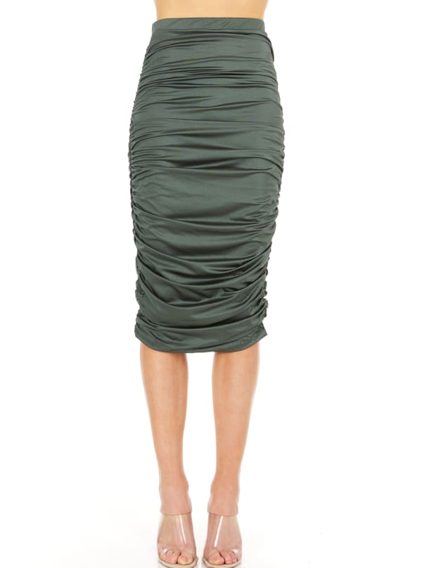 Fitted Midi Skirt - Olive - Front