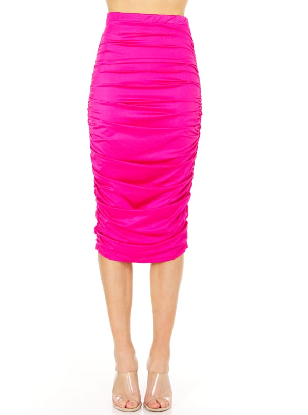 Fitted Midi Skirt - Fuschia - Front