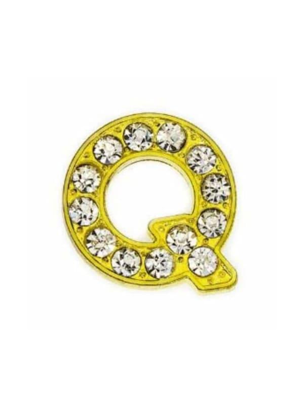 Pave Letter Q - Gold Charm