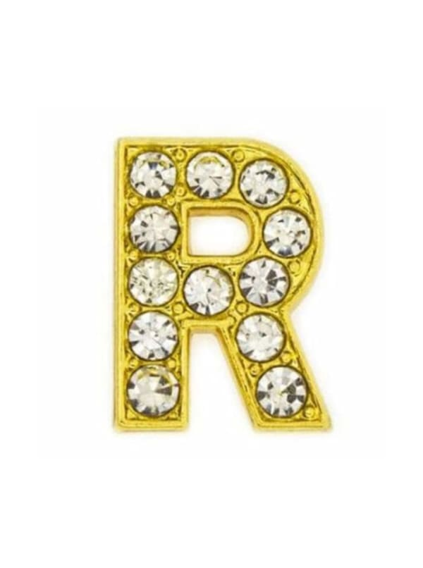 Pave Letter R - Gold Charm
