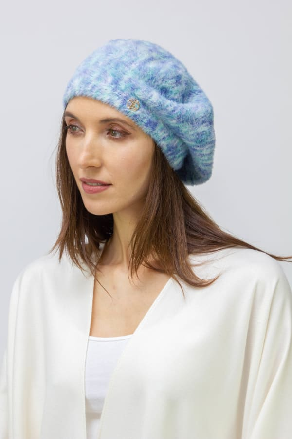Adrienne Vittadini Fall Beret Hat - Blue - Front