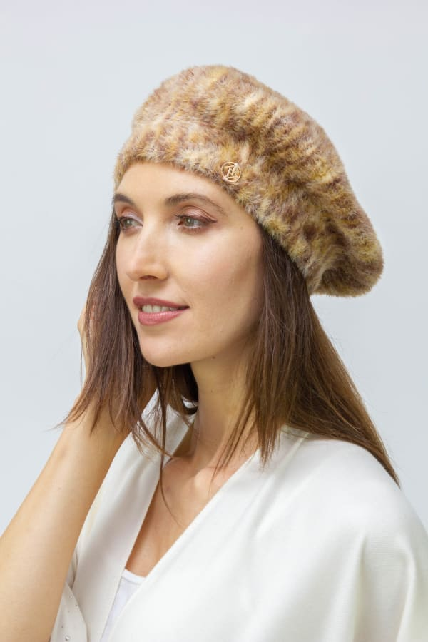 Adrienne Vittadini Fall Beret Hat - Brown - Front