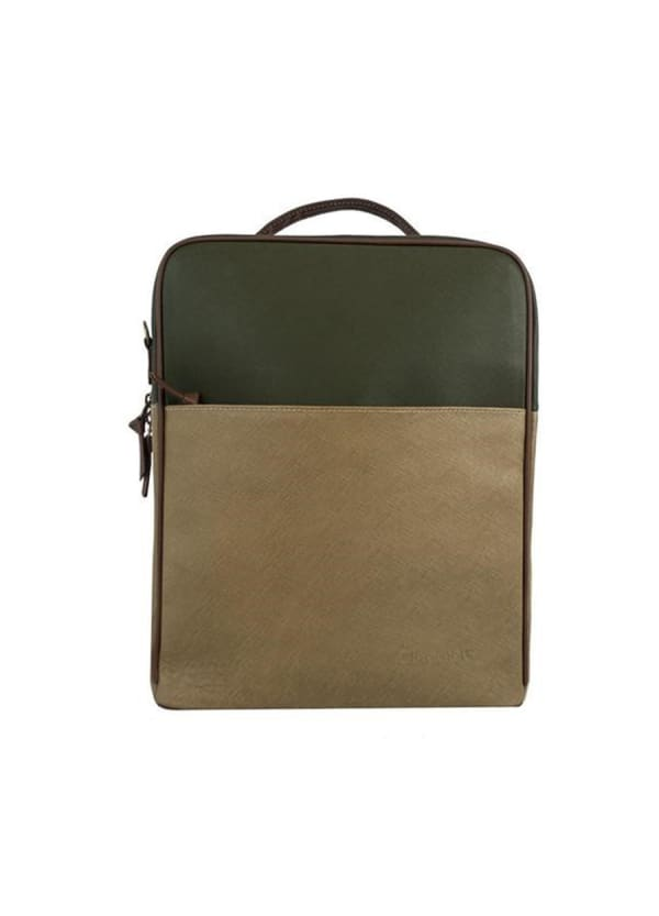 Augusta Leather Backpack - Tan / Olive Green - Front