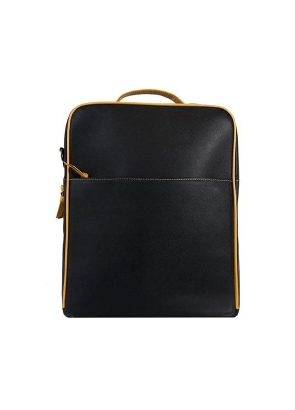 Augusta Leather Backpack - Black / Goldenrod - Front