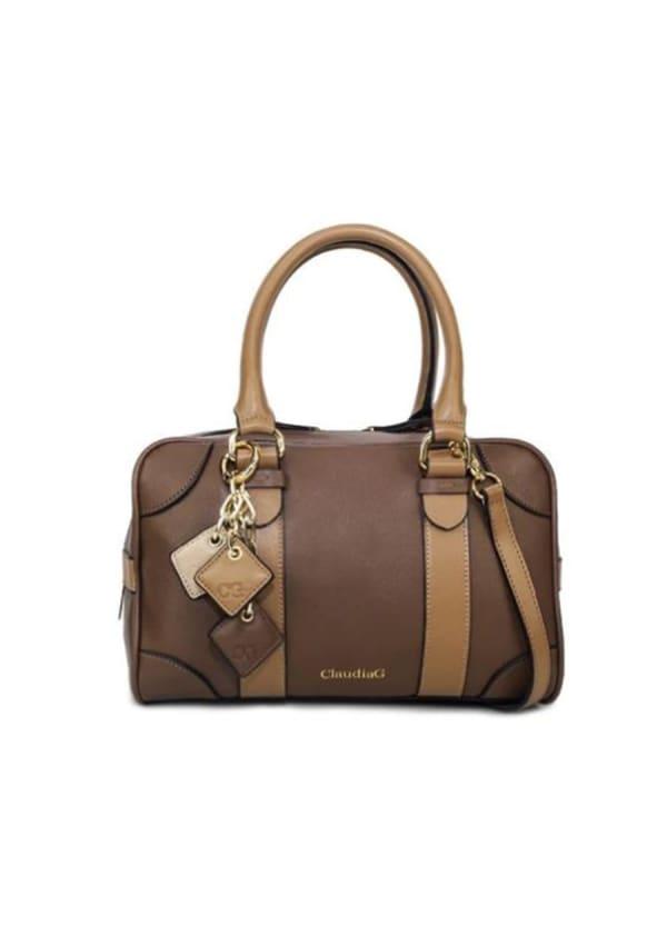Carlotta Leather Handbag - Chocolate / Caramel - Front