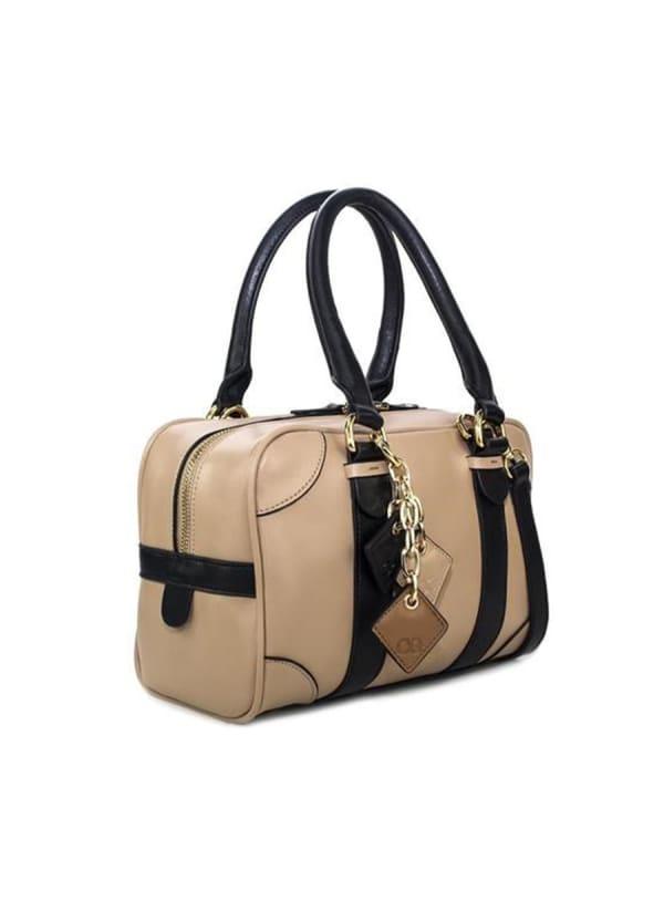 Carlotta Leather Handbag - Tan / Midnight Black - Front