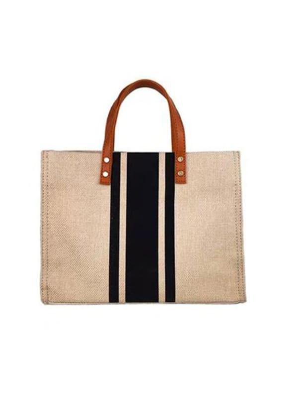 Linen Shoulder Bag - Black - Front