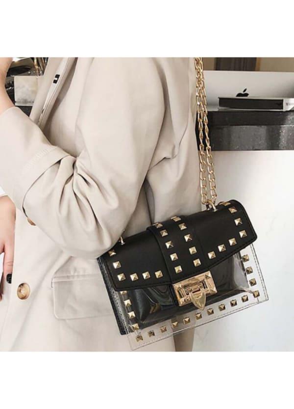 Betty Shoulder Bag - Clear / Black - Front