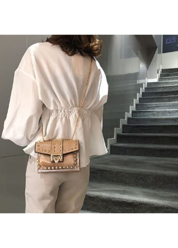 Betty Shoulder Bag - Clear / Tan - Front