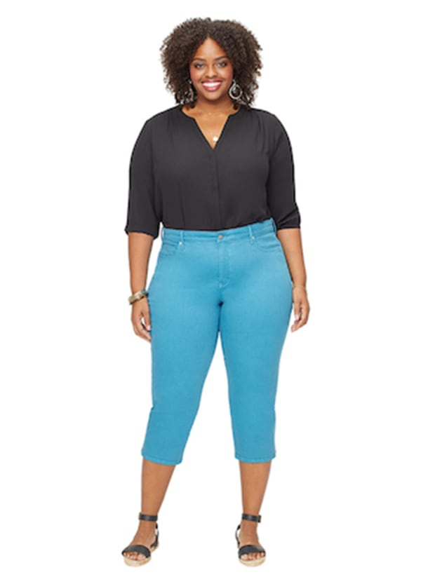 NYDJ Capri Pants with Side Slits - Turquoise Trail - Front