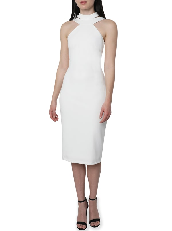 Bebe Halter Neck Midi Dress - Ivory - Front